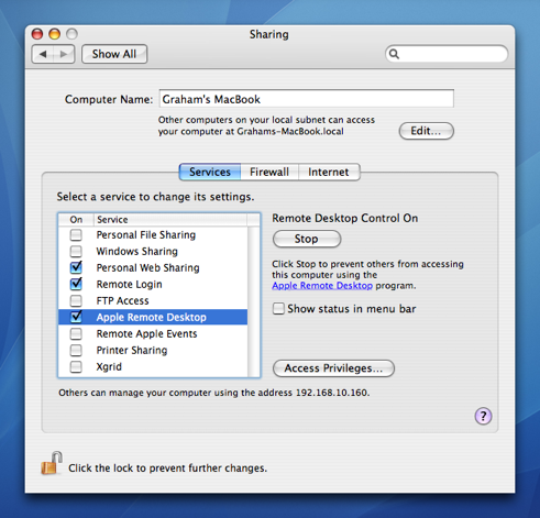 A VNC server is included in Mac OS X 10 4+
