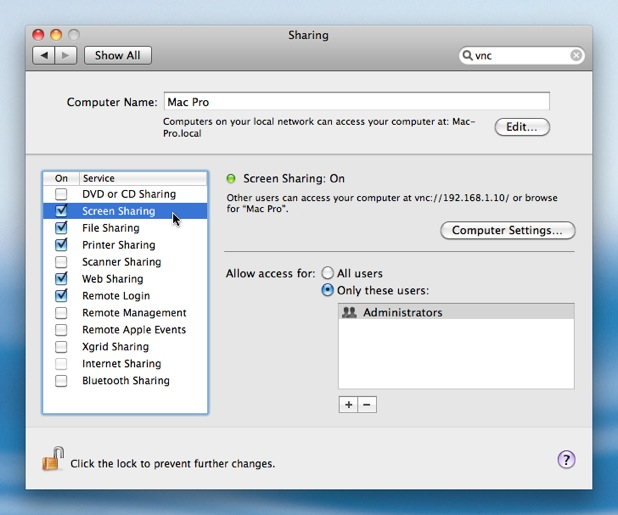 Setting up the VNC Server in Mac OS X 10 6