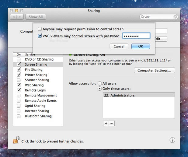 Setting up the VNC Server in Mac OS X 10 7 aka Lion